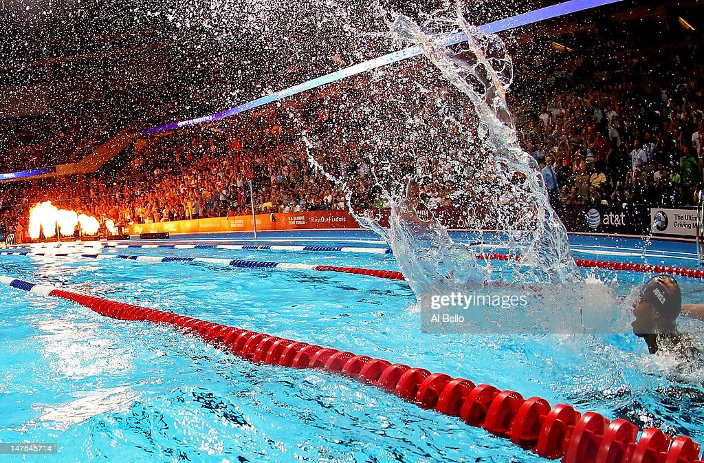Cullen Jones celebrates after he competed in the championship final of the Men's 50 m Freestyle during Day Seven of the 2012 US Olympic Swimming Team...