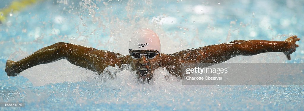 Cullen Jones of SwimMAC Carolina competes in the men's 50m Butterfly A-Final at the Mecklenburg County Aquatic Center in Charlotte, North Carolina, on Saturday, May 11, 2013.