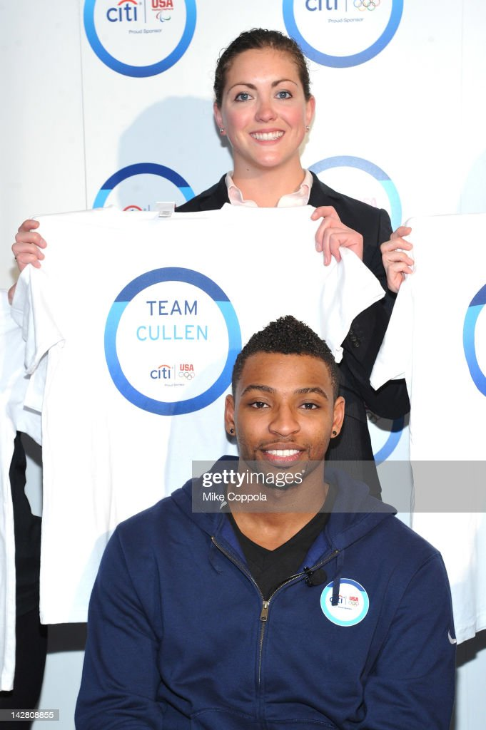 <a gi-track='captionPersonalityLinkClicked' href=/galleries/search?phrase=Cullen+Jones&family=editorial&specificpeople=1047215 ng-click='$event.stopPropagation()'>Cullen Jones</a> of Team Citi and Mariah Cunnick USA Swimming Foundation, Director of Development take a 'signature step' to kick off Citi's Every Step of the Way Olympic program on April 12, 2012 in New York City.