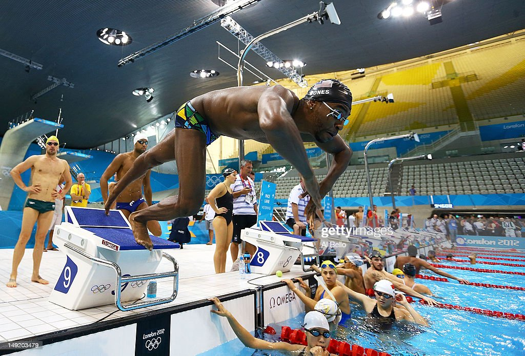 <a gi-track='captionPersonalityLinkClicked' href=/galleries/search?phrase=Cullen+Jones&family=editorial&specificpeople=1047215 ng-click='$event.stopPropagation()'>Cullen Jones</a> of the United States dives off of the starting block during a training session ahead of the London Olympic Games at the Aquatics Centre in Olympic Park on July 25, 2012 in London, England.