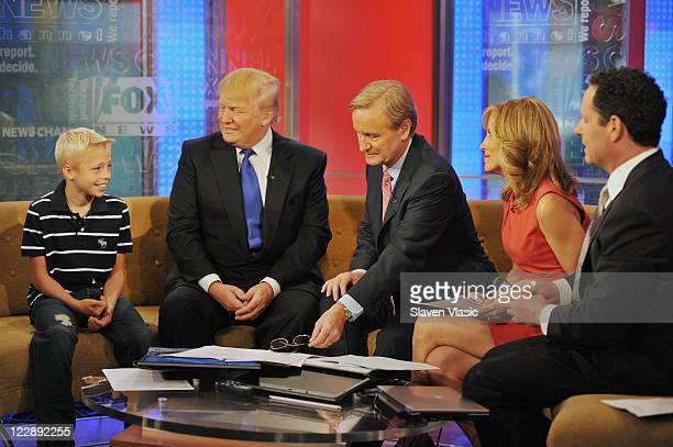 Culley Larson and American business magnate/TV personality Donald Trump talk to 'FOX and Friends' hosts Steve Doocy Alisyn Camerota and Brian...