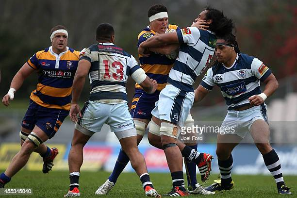 Cullum Retallick of the Bay of Plenty Steamers is tackled by Liaki Moli of Auckland during the ITM Cup match between Bay of Plenty and Auckland on...