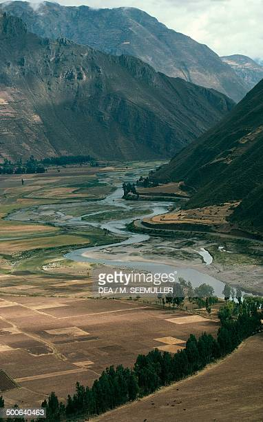 Cultivated fields in the upper Urubamba valley sacred valley of the Incas Peru
