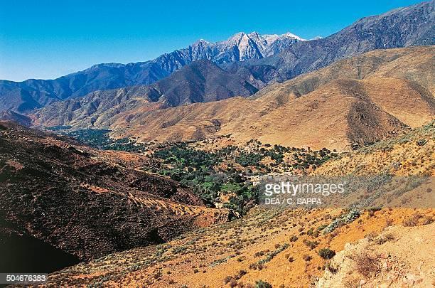 Cultivated valley near TizinTest mountain pass High Atlas Morocco