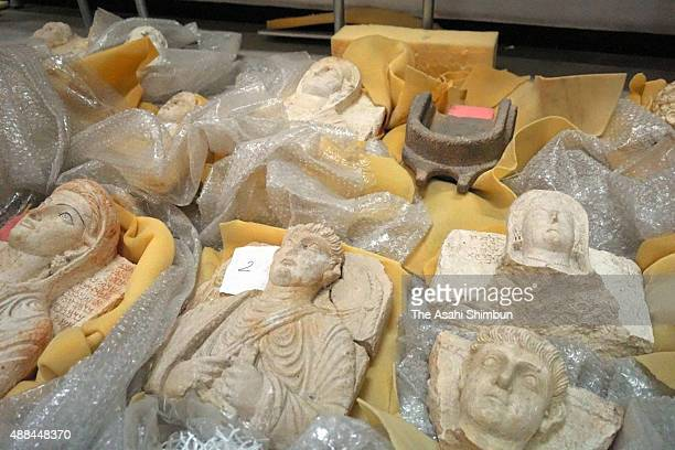 Cultural assets of destroyed Palmyra site which had been seized by Lebanese government at a black market are seen at the culture ministry on...