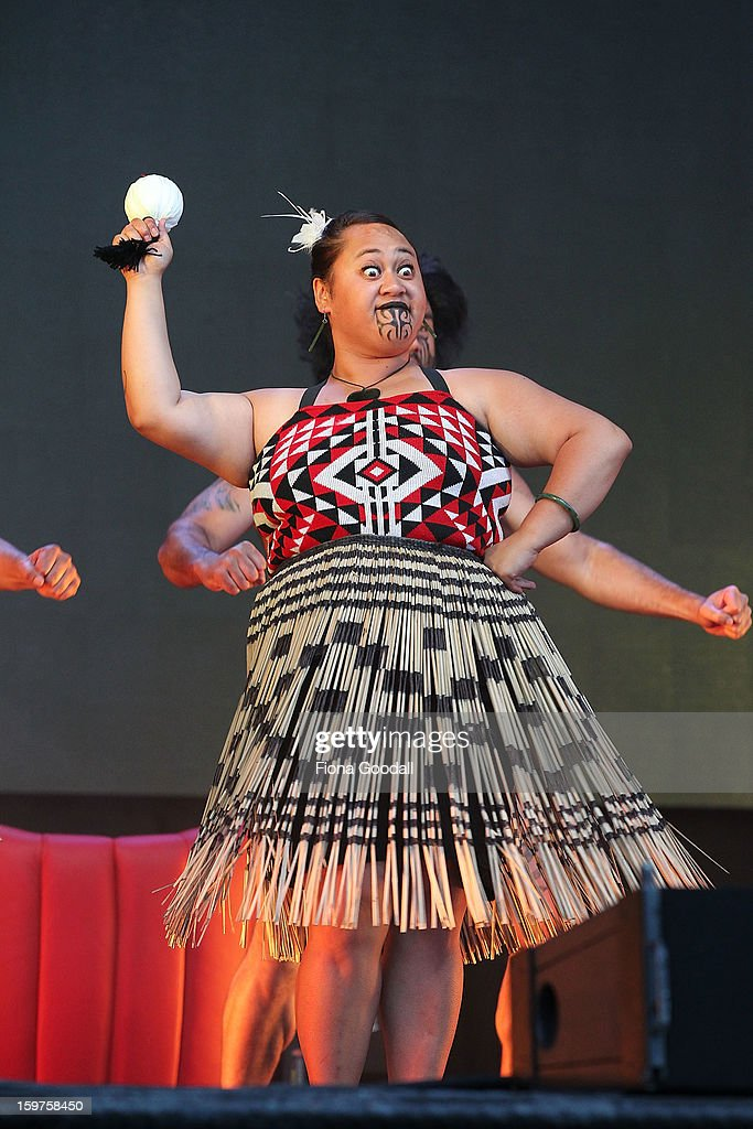 A cultural group performs as Kim Dotcom launches his new file-sharing site, Mega, on January 20, 2013 in Auckland, New Zealand. The launch comes as Dotcom continues to face extradition to the United States on copyright and racketeering charges in relation to his file sharing site, Megaupload.