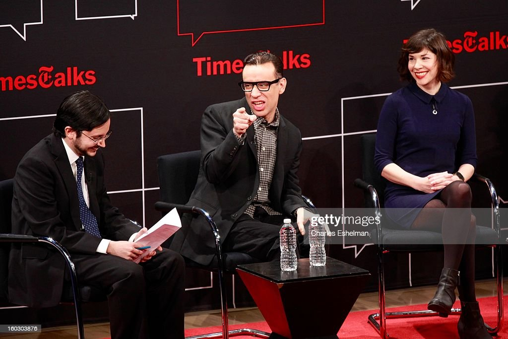 NYT cultural reporter Dave Itzkoff interviews co-creators/co-writers <a gi-track='captionPersonalityLinkClicked' href=/galleries/search?phrase=Fred+Armisen&family=editorial&specificpeople=221426 ng-click='$event.stopPropagation()'>Fred Armisen</a> and <a gi-track='captionPersonalityLinkClicked' href=/galleries/search?phrase=Carrie+Brownstein&family=editorial&specificpeople=870017 ng-click='$event.stopPropagation()'>Carrie Brownstein</a> at the New York Times TimesTalks Presents: 'Portlandia' at TheTimesCenter on January 28, 2013 in New York City.