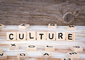Culture from wooden letters on wooden background