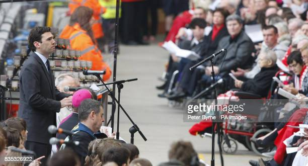 Culture Media and Sport Secretary Andy Burnham speaks at the official memorial service at Liverpool's Anfield Stadium to mark the 20th anniversary of...