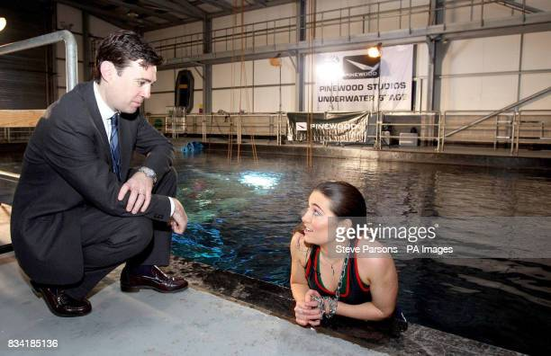 Culture Media and Sport Secretary Andy Burnham talks to 23yearold Daisy Brown from Salisbury who is an apprentice diver at Diving Services UK as the...