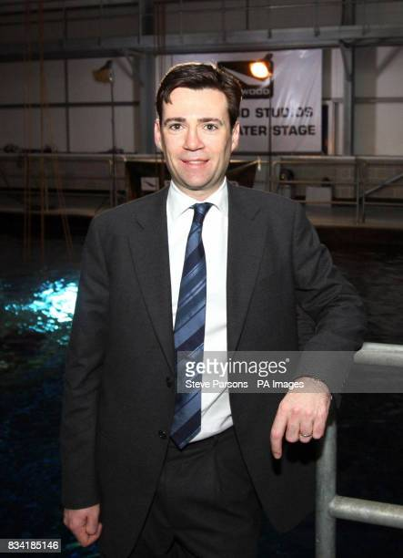 Culture Media and Sport Secretary Andy Burnham visited the Underwater stage at Pinewood Studios in Surrey