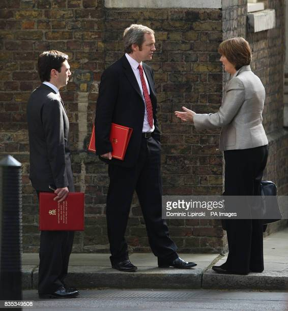 Culture Media and Sport Secretary Andy Burnham Work and Pensions Secretary James Purnell and Leader of the House of Commons Harriet Harman at 10...