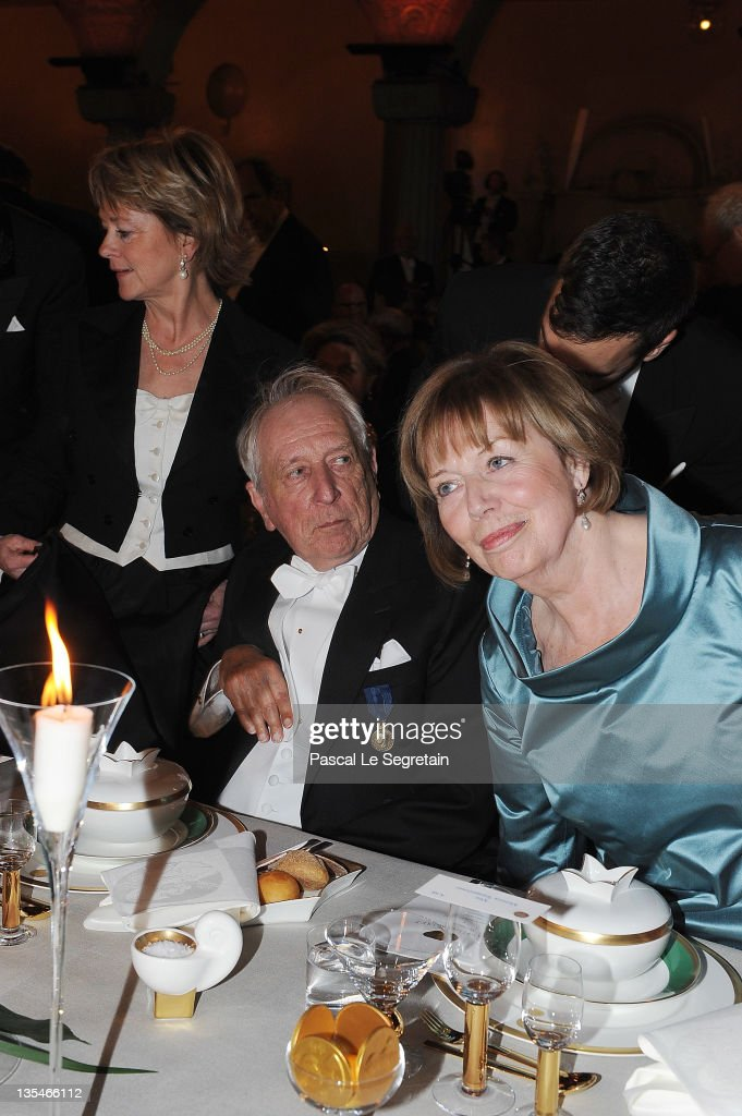 Culture Minister Lena Adelsohn Liljeroth, Swedish poet and Nobel Prize for Literature laureate Tomas Transtromer and his wife Monica Transtromer attend the Nobel Prize Banquet at Stockholm City Hall on December 10, 2011 in Stockholm, Sweden.