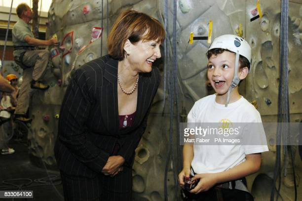 Culture Minister Tessa Jowell talks to 8 year old Adhan Safayaldeen a student from Oxford Gardens Primary School at the Westway Sports Centre in...