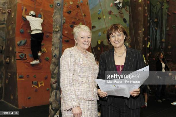 Culture Minister Tessa Jowell talks to Diane Thompson CEO of Camelot at the Westway Sports Centre in London which is funded by Lottery money to help...