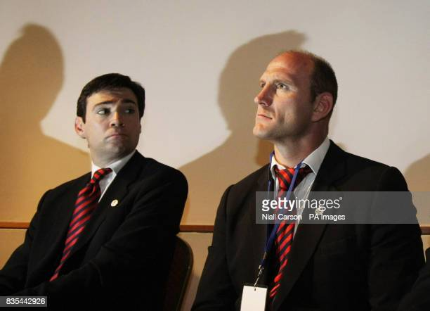 Culture Secretary Andy Burnham and Lawrence Dallaglio brief the media during the Rugby Union World Cup 2015/2019 Tender Presentation at the Royal...