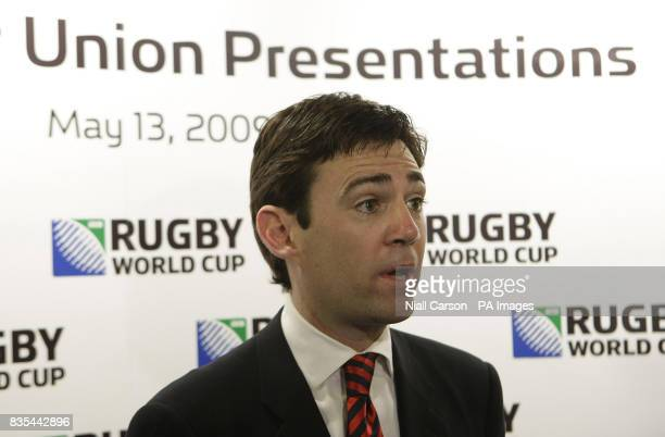 Culture Secretary Andy Burnham speaks to the Media during the Rugby Union World Cup 2015/2019 Tender Presentation at the Royal College of Physicians...