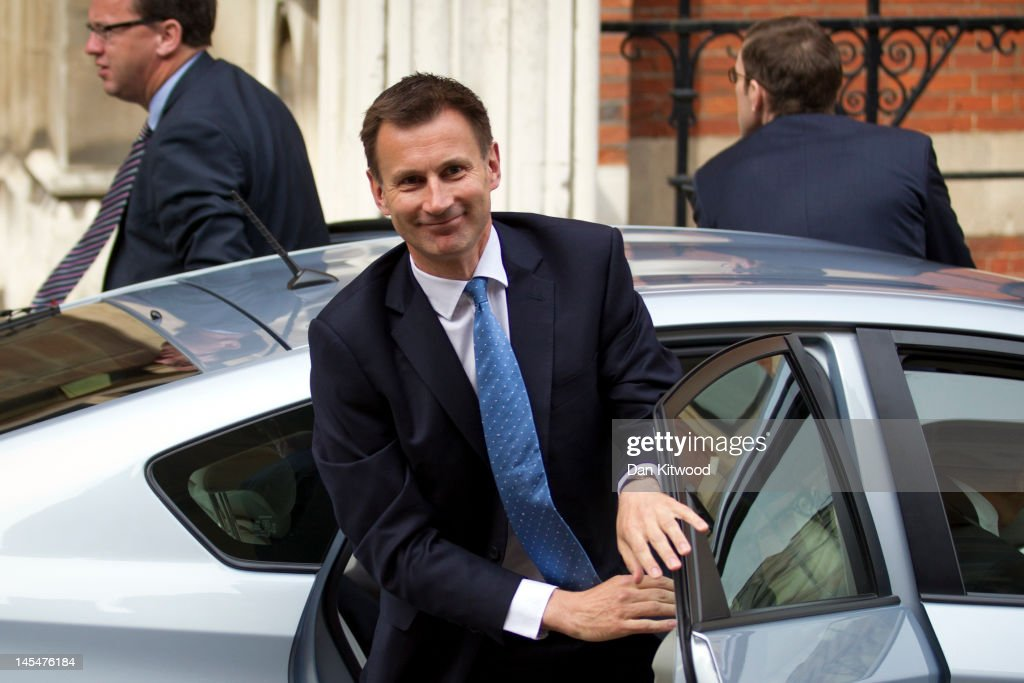 Culture Secretary Jeremy Hunt arrives at The Royal Courts of Justice to give evidence to The Leveson Inquiry on May 31 2012 in London England This...