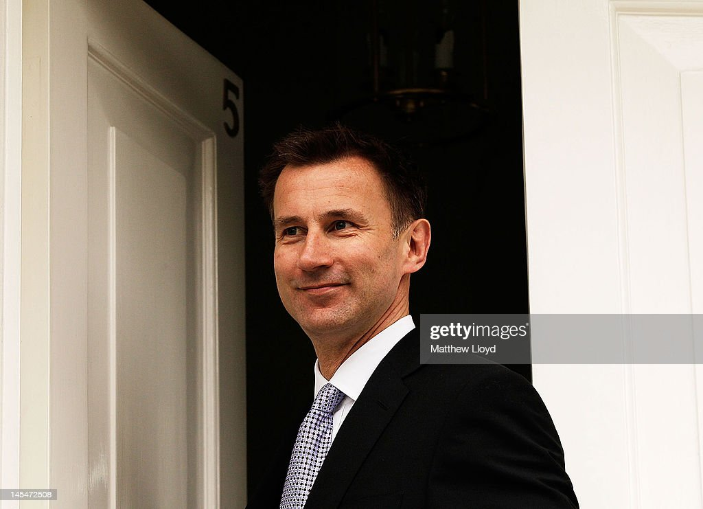 Culture Secretary Jeremy Hunt leaves his house to go to the Leveson Inquiry on May 31 2012 in London England This phase of the inquiry into the...