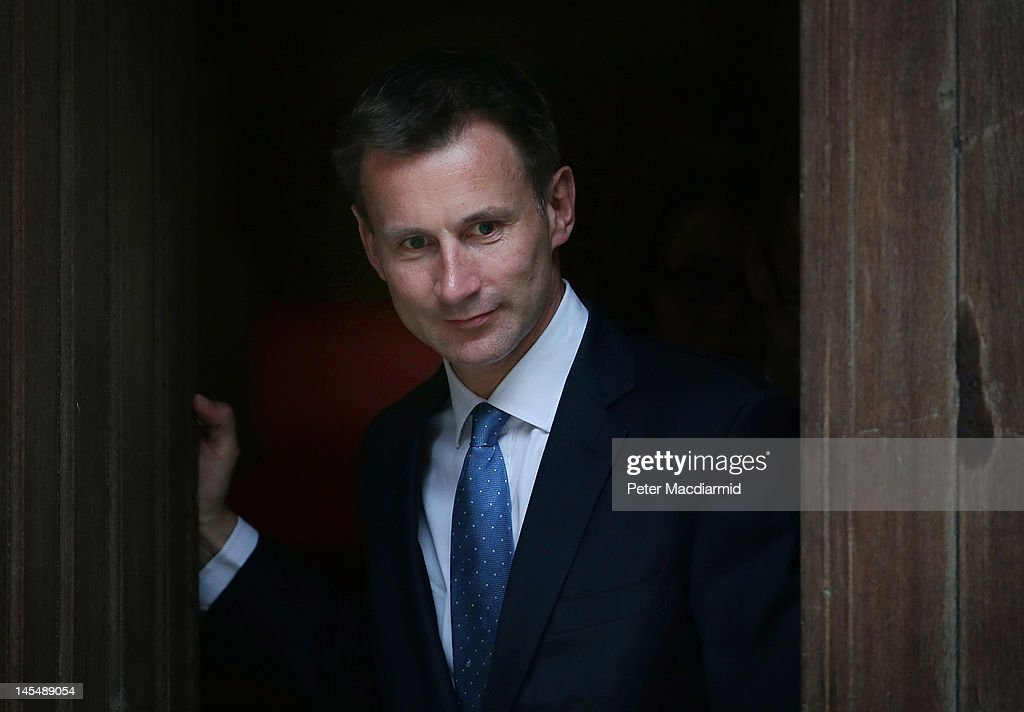 Culture Secretary Jeremy Hunt leaves The Royal Courts of Justice after giving evidence to The Leveson Inquiry all day on May 31 2012 in London...
