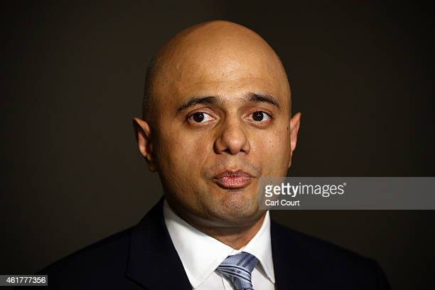 Culture Secretary Sajid Javid speaks to the media during a visit with New Zealand Prime Minister John Key to the Imperial War Museum on January 19...