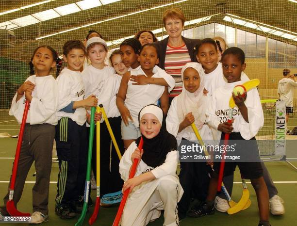 Culture Tessa Jowell with local school children at the Westway Sports centre built with the help of 87 million of Government and Lottery money...