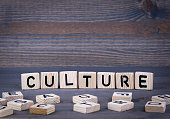 Culture word written on wood block. Dark wood background with texture.