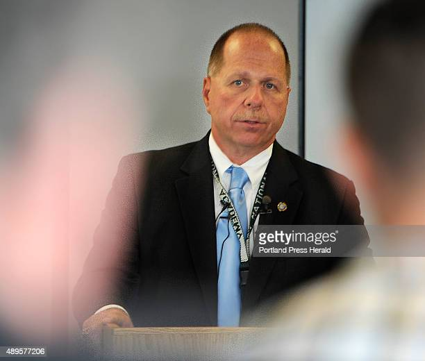 Cumberland County Sheriff Kevin Joyce holds a press conference to address a contentious new policy at the Portland jail that is requiring female...