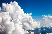 Cumulus clouds-eye level seen from an airplane
