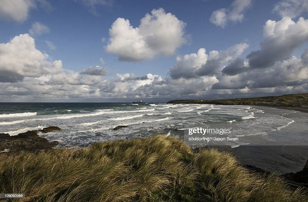 A cumulus sky over Gwithian, Cornwall : Stock Photo