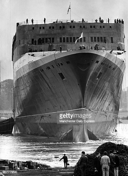 Cunard liner 'Queen Elizabeth II' leaving Clydebank Scotland