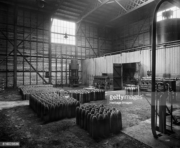 Cunard Shell Works Bootle Merseyside September 1917 Artillery shell casings at various stages of completion standing in a storage area In 1915 the...