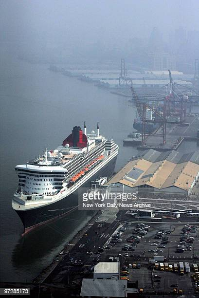 Cunard's 1132foot Queen Mary 2 the world's largest ocean liner is docked for the first time at its new home port after arriving at the Brooklyn...