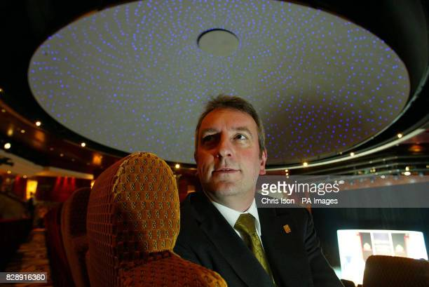 Cunard's Director of New Build Projects Gerry Ellis pictured in the planetarium aboard Queen Mary 2 the world's biggest cruise liner at Southampton...