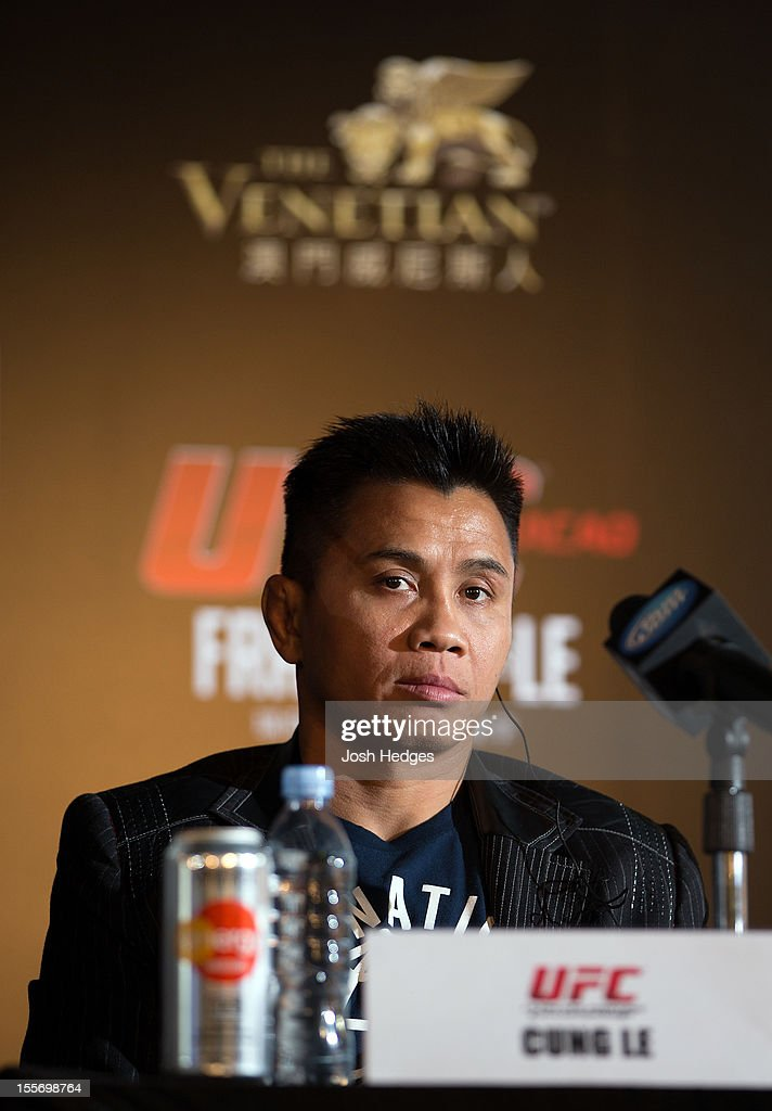 <a gi-track='captionPersonalityLinkClicked' href=/galleries/search?phrase=Cung+Le&family=editorial&specificpeople=5043457 ng-click='$event.stopPropagation()'>Cung Le</a> looks on uring a UFC press conference at Harbour City Mall on November 7, 2012 in Hong Kong, Hong Kong.