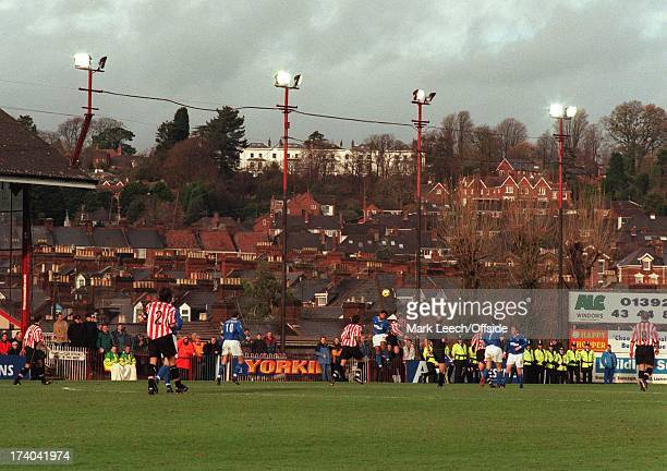 Cup 3rd Round Exeter City v Everton Players contest a high ball amongst the rooftops of Exeter