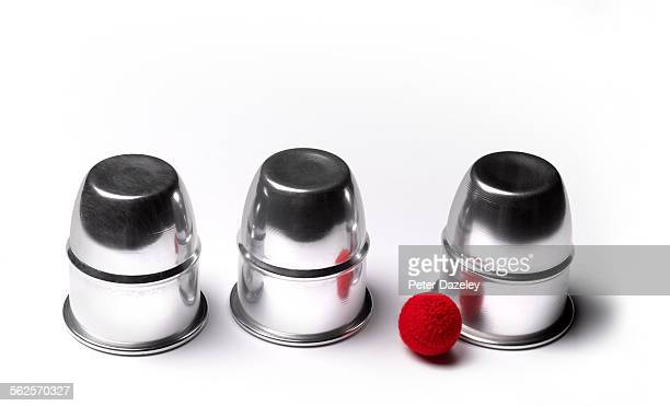 Cup and balls guessing game