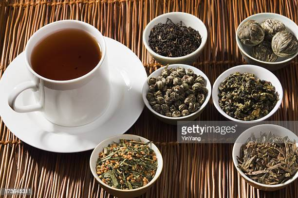 Cup and Tea Leaves of Japanese, Chinese, and Indian Varieties
