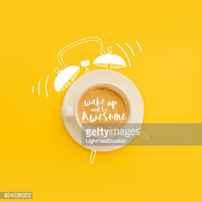 cup as ringing alarm clock : Stock Photo