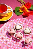 Cup cakes on a table
