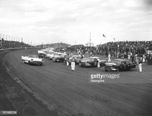 Cup cars line up for a race at Langhorne Speedway Fireball Roberts went on to win the event and Paul Goldsmith finished second Marvin Panch drove No...