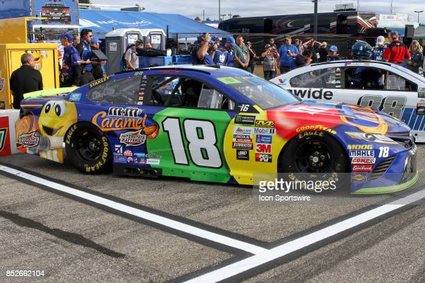 Cup Contender Kyle Busch's MM's Carmel Toyota on pit road before qualifying for the Monster Energy NASCAR Cup Series ISM Connect 300 race on...