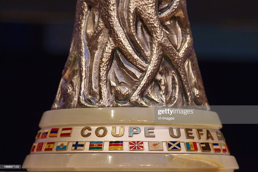 Cup during the UEFA Europa League trophy handover ceremony on April 18, 2013 at Amsterdam, The Netherlands.