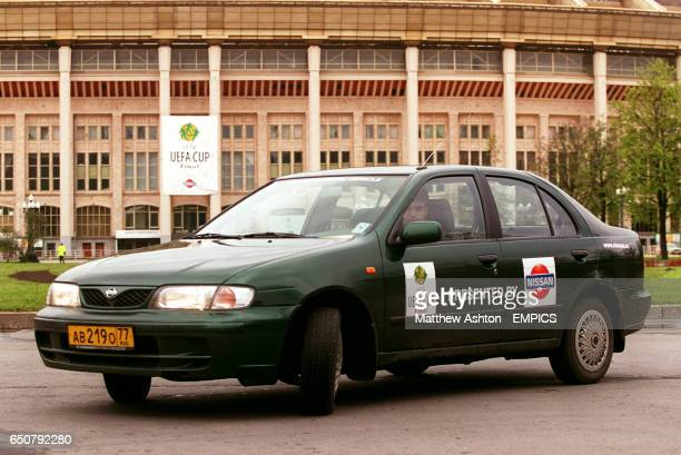 Cup Final car supplied by Nissan parked outside the Luzhniki Stadium Moscow