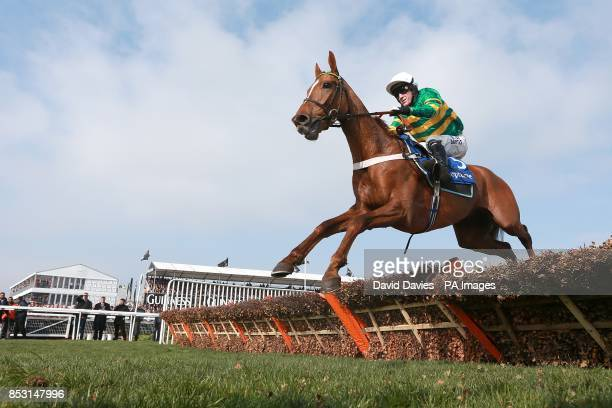 Cup Final ridden by Tony McCoy in action before finishing down the field in Neptune Investment Management Novices' Hurdle on Ladies Day during the...