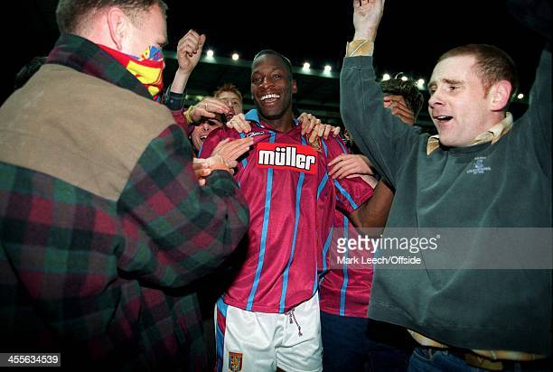 Cup Football Aston Villa v Inter Milan Ugo Ehiogu celebrates victory with the Villa fans
