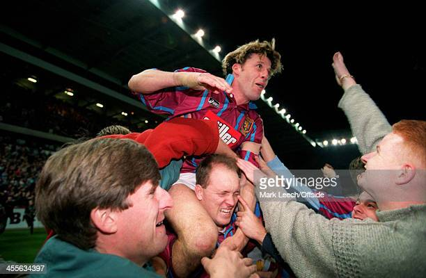 Cup Football Aston Villa v Internzionale Andy Townsend is carried by fans celebrating the Villa victory