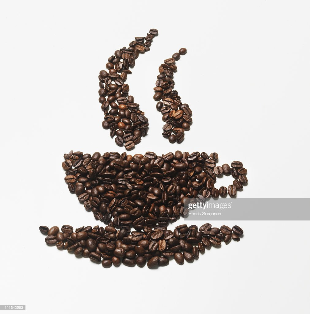 cup made of coffea beans : Stock Photo