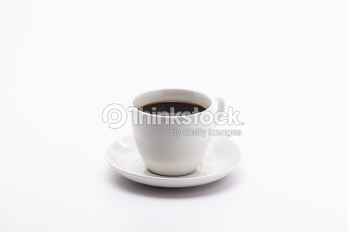A cup of black coffee isolated on white background : Stock Photo