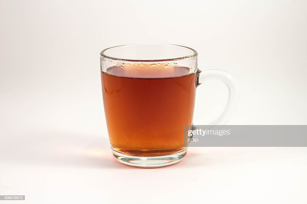 cup of black tea on a white background : Stockfoto